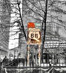 """""""The world is 3 days: As for yesterday, it has vanished along with all that was in it. As for tomorrow, you may never see it. As for today, it is yours, so work on it."""" ―al-Hasan al-Basri 🚙 6️⃣ 6️⃣ (anokarina) Tags: loop chicago illinois il appleiphone8 colorsplash route66 historic marker city urban chicagoist"""