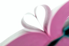 Book Heart (Karen_Chappell) Tags: book heart pink white pastel shape love read reading paper stilllife canonef100mmf28usmmacro macro bokeh