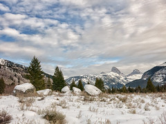 puffy clouds in teton canyon (maryannenelson) Tags: wyoming tetons tetoncanyon landscape clouds sky winter snow
