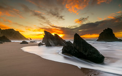 Volcom (marcolemos71) Tags: seascape water waves lowtide rocks sky clouds sunset beach adraga sintra longexposure slowshutter volcom marcolemos