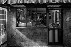 closed (k0syak) Tags: sonyilce6000 sonya6000 sigma30mmf14dcdncontemporary haifa israel bwblackandwhite geometry urban wall window brick door coffee cafe sign lamp interior lowlight night dark toktoki
