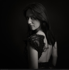 Jenny (bcud14) Tags: woman studio dress back tatto portrait blackandwhite monochrome dark lowkey square standing