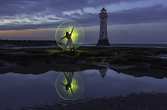 New Brighton Lighthouse (redbankmoz) Tags: reflections reflection seascape landscape rivermersey lightpainting newbrighton lighthouse