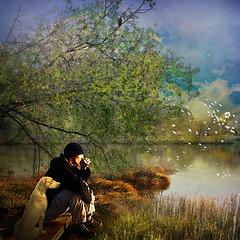 Meditation (jaci XIII) Tags: meditação lago pessoa homem cão animal cachorro árvore meditation lake person man dog tree