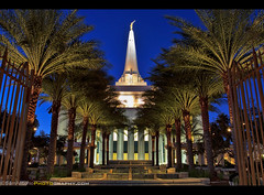 Gateway to Heaven (Sam Antonio Photography) Tags: arizona mormon temple religion church lds architecture saints building travel mormonism tourism christ jesus worship windows religious symbolism ldstemple mormontemple holy latterday famousplace churchofjesuschristoflatterdaysaints phoenix latterdaysaint tranquilscene outdoors palmtree spirituality classical spire gate spiritualism angel night gilbert samantoniophotography