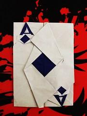 Origami Ace of Diamonds folded by me. (Sasha CraftSpace) Tags: origami card ace diamonds aceofdiamonds sashacraftspace miwu paper kami rectangle uncut poker