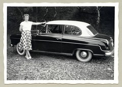 """Borgward Isabella (Vintage Cars & People) Tags: vintage classic black white """"blackwhite"""" sw photo foto photography automobile car cars motor borgward isabella vehicle antique auto economicmiracle wirtschaftswunder 1950s fifties woman lady fashion checkers skirt checkeredskirt pumps heels twotone whitewalltyres whitesidewalltires whitewalls"""