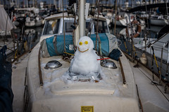 Snow in Barcelona?.......in sunny Barcelona? (Dafydd Penguin) Tags: snow snowman mr snowy snowing barcelona calaunya catalonia spain weather yacht porto olympico marina sailboat yachting water leica m10 summicron f2 35mm asph