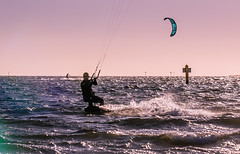 A late afternoon in the water (SemiXposed) Tags: kitesurf kiteboarding melbourne australia port st kilda man