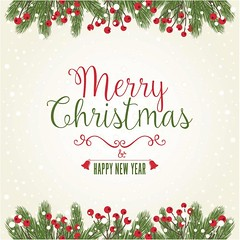 free vector merry christmas & happy new year card (cgvector) Tags: 2017 abstract background ball banner bell border bow branch brown card celebration christmas decor decoration design element festive fir frame gift gold green greeting happy illustration invitation merry new object old ornament paper pine poster red retro ribbon season symbol template text texture tree typography vector vintage winter wrinkled xmas year