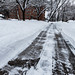 Plowed and Shoveled Snow - Sidewalk Cleared in Winter