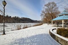 Riverwalk (mpalmer934) Tags: path sidewalk allegheny river lock dam 7 lampost gazebo trees water woods park winter
