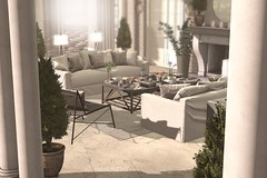 Outdoor Patio #1 (brinks_lemmon) Tags: food sofa couch chesterfield chair table coffeetable book coffeetablebook candle vase flowers branches tree curtain drapes pillow cushion rug carpet fireplace stone wine