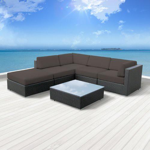 Luxxella Patio Beruni Outdoor Wicker Furniture 6-Piece All Weather Couch Sectional Sofa Set, Dark Grey