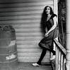 Jess 3 (neohypofilms) Tags: series portrait medium format 120 film hasselblad retro vintage style fashion shoes white wood clogs leggings hair wrap porch blackwhite bw classic 60s 70s
