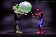 Not the brightest idea... (Pikebubbles) Tags: hulk incrediblehulk davidgilliver davidgilliverphotography spidey spiderman marvel marvellegends marvelcomics toys toy toyart toyphotography toyphotographer creative creativephotography canon funny figurine actionfigure figurines balloon diorama