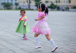 North Korean girls in the street, Pyongan Province, Pyongyang, North Korea