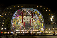 Colourful Markthal (HansPermana) Tags: rotterdam netherlands nederland niederlande zuidholland holland eu europa europe hafenstadt lights nightshot nightscape city cityscape colorful markthal architecture