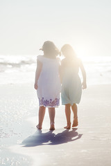 (Rebecca812) Tags: childhood friendship beach girls sisterhood sisters walking shadow sunlight lensflare idyllic atmospheric seashore ocean sand canon people rearview fulllength rebeccanelson rebecca812