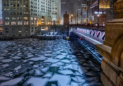 MIchigan Avenue bridge. (bkkay1) Tags: chicago downtown winter river ice snow night
