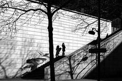 In the middle of the staircase (pascalcolin1) Tags: paris13 femme woman escalier staircase ombres shadows milieu middle photoderue streetview urbanarte noiretblanc blackandwhite photopascalcolin 50mm canon50mm canon