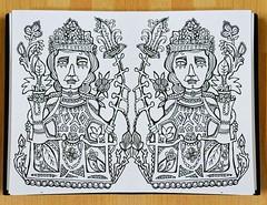 Thursday Doodle (Lindsaywhimsy) Tags: ink pen doodle sketch medieval pilgrimbadge reflection