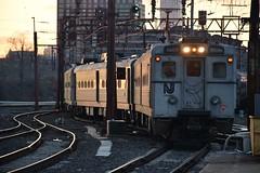 Shining Arrows (CrispyBassist) Tags: railroad railway train track transit nj njt njtransit newjersey newjerseytransit arrowiii hoboken hobokenterminal sunset