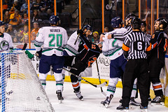 """Kansas City Mavericks vs. Florida Everblades, February 18, 2018, Silverstein Eye Centers Arena, Independence, Missouri.  Photo: © John Howe / Howe Creative Photography, all rights reserved 2018 • <a style=""""font-size:0.8em;"""" href=""""http://www.flickr.com/photos/134016632@N02/40387902131/"""" target=""""_blank"""">View on Flickr</a>"""
