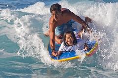 Tandem Boogie (RicoLeffanta) Tags: boogieboard body board bodyboard big surfing classic father daughter child girl surf water sport makaha oahu hawaii buffalo keaulana rico leffanta