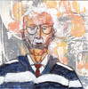 # 268 2018-02-24 (h e r m a n) Tags: herman illustratie tekening 10x10cm tegeltje drawing illustration karton carton cardboard kunst art portrait portret man male bril glasses