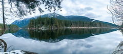 Buntzen Lake reflection (Explored!!) (Scrambler27) Tags: scrambler27 panorama landscape water lake buntzenlake trees clouds mountains reflections