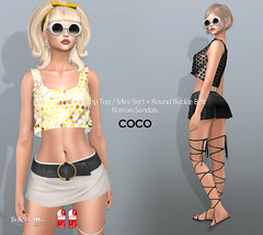COCO New Release @Uber February 25th (cocoro Lemon) Tags: coco newrelease uber metal croptop mini skirt sandals fashion secondlife maitreya slink belleza