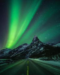 Lights on the highway (Jay Daley) Tags: sonyalpha sonya7r2 sony mountains stars nightphotography night astro mountain stetind norway auroraborealis borealis aurora northernlights