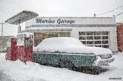 Blizzard Of Gas (Clayton Perry Photoworks) Tags: vancouver bc canada snow steveston richmond winter explorebc explorecanada monctonstreet car