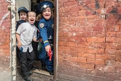 Purim Police (Gisele Duprez) Tags: purim williamsburg jewish orthodox costume police nyc streetphoto streetphotography leica leicaq womeninstreet