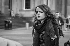 Introspective (Leanne Boulton (Away)) Tags: portrait monochrome urban street candid portraiture streetphotography candidstreetphotography candidportrait streetportrait streetlife woman female girl pretty face expression eyes look emotion mood feeling brunette beauty beautiful pensive thinking winter scarf tone texture detail depthoffield bokeh naturallight outdoor light shade city scene human life living humanity society culture people canon canon5d 5dmarkiii 70mm ef2470mmf28liiusm black white blackwhite bw mono blackandwhite glasgow scotland uk