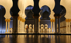 One Thousand and One Nights (micheledibitetto) Tags: ngc thousand night mosque abudhabi uae united arab emirates reflections reflection art architecture arches pool gold column pillars
