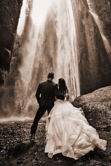 Ashley & Johnny (LalliSig) Tags: wedding photographer iceland summer july portrait portraiture people water waterfall gljúfrabúi black white gray sepia brown toned