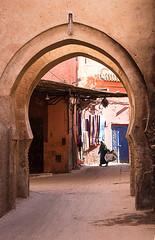 (Bantamgirl) Tags: morocco marakech street scene lady walking traditional medina souk arch archway architecture
