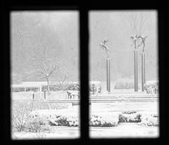 snow angels (bnbalance) Tags: bw black white snow angels snowangel window square