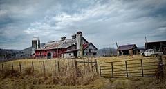 Creamery Dairy Barn_Wide (Bob G. Bell) Tags: barn dairybarn creamery wv westvirginia summers xpro1 fujifilm bobbell clouds sky silo farm fence gate