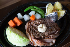 Beef steak with vegetables. (baddoguy) Tags: backgrounds beef black color carbohydrate food type closeup image cooking grilled horizontal low carb diet nakhon ratchasima no people photography prepared potato protein readytoeat sirloin steak thai thailand top vegetable