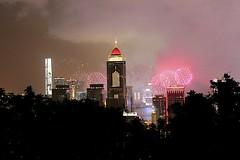Hong Kong Fireworks (oxfordblues84) Tags: hongkong hongkongarchitecture oat overseasadventuretravel hongkongharbour peoplesrepublicofchina china fireworks sky afterdark nightlights night buildings skyline architecture