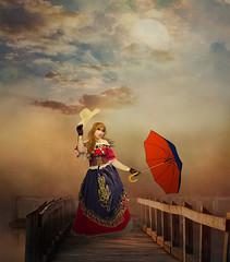 Woman on pier (jaci XIII) Tags: mulher pier ponte paisagem sombrinha pessoa woman bridge landscape umbrella person