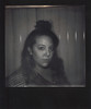 Day 096 (H o l l y.) Tags: impossible project polaroid 600 analog instant film square flash photography self portrait top knot blinds bw black white no color face retro indie vintage