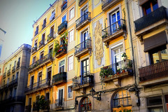 Balcons de Barcelona (Fnikos) Tags: street city balcony nature flower building buildingcomplex window door architecture decor colour outdoor