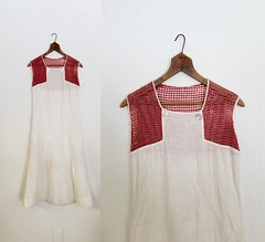 1920s linen and mesh summer dress (Small Earth Vintage) Tags: smallearthvintage vintageclothing vintagefashion dress 1920s 20s linen mesh summerdress daydress