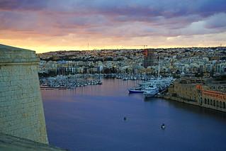 Incredible sunset sky seen from Valletta ramparts, Malta