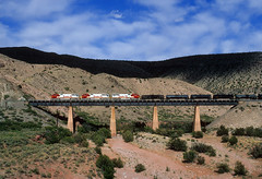 Gliding out of Abo (Moffat Road) Tags: santafe atsf atchisontopekasantafe bridge canyon emd sd75m 222 freighttrain railroad locomotive train bridge8742 abocanyon sais newmexico nm