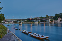 Basel / Rhein im Summer (Basel101) Tags: basel city cityscape bridge ferry boat blue hour swim swimming evening tram promenade